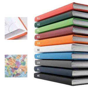Agenda giornaliera, diversi colori disponibili, angolo segnapagine perforato, inserto cartografico.